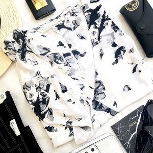 Rachel Roy Black & White Ink Splatter Ruffle Top